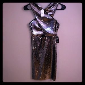 Express midi sequin dress with cutout